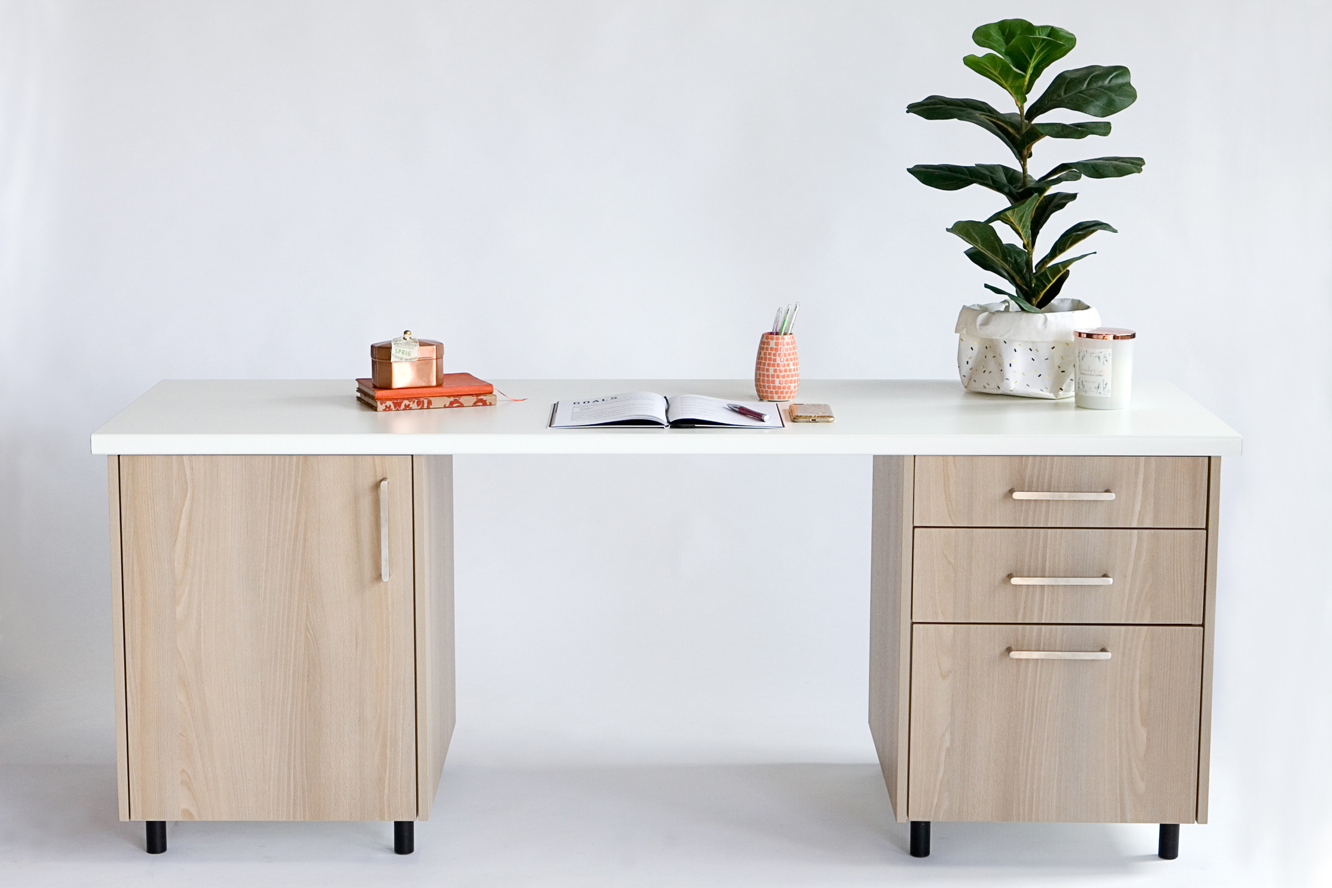 Manly desk and filing cabinet